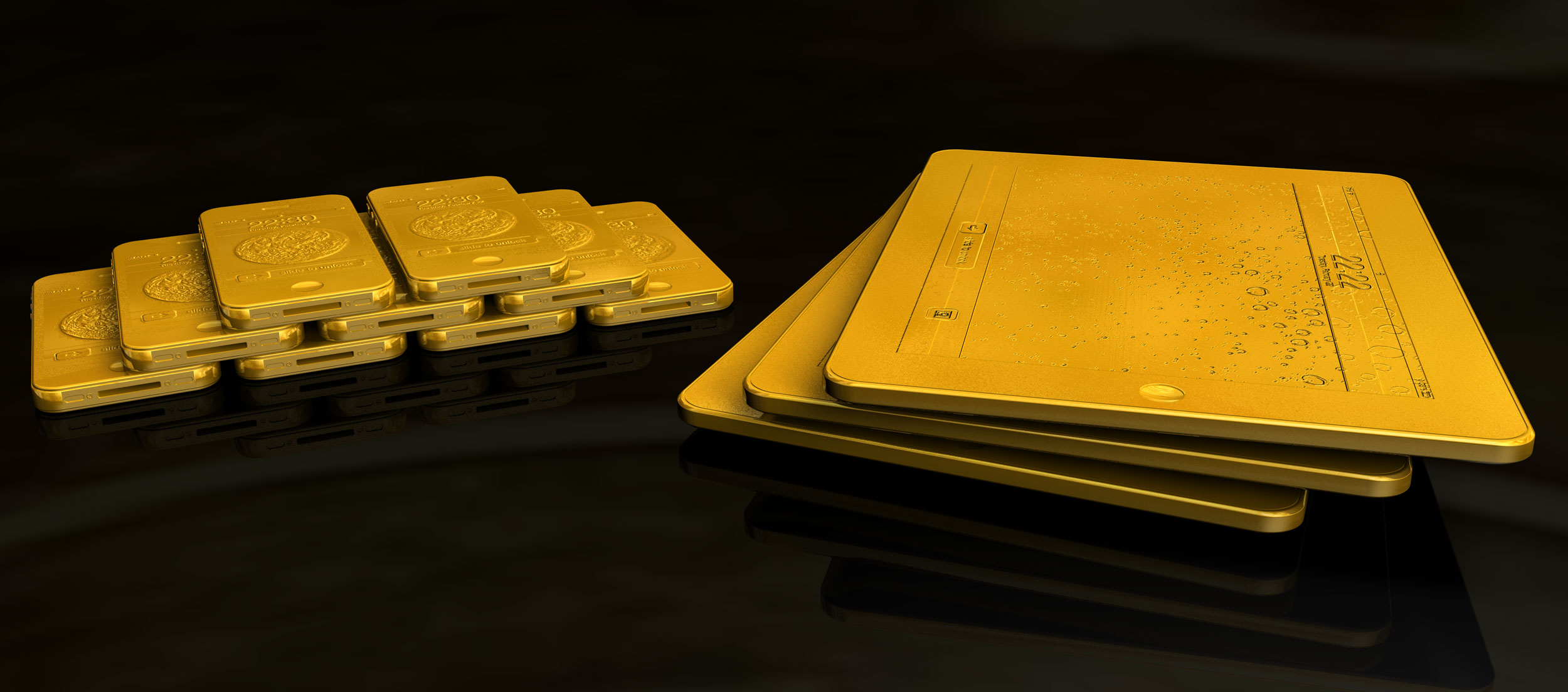 Solid Gold iPhone, 1kg, and Solid Gold iPad, 8kg